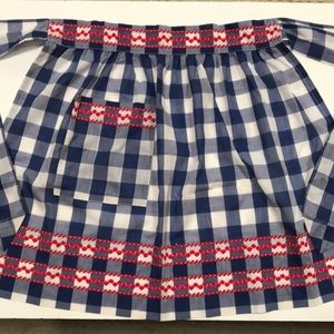 Vintage apron - blue & white checks with red trim